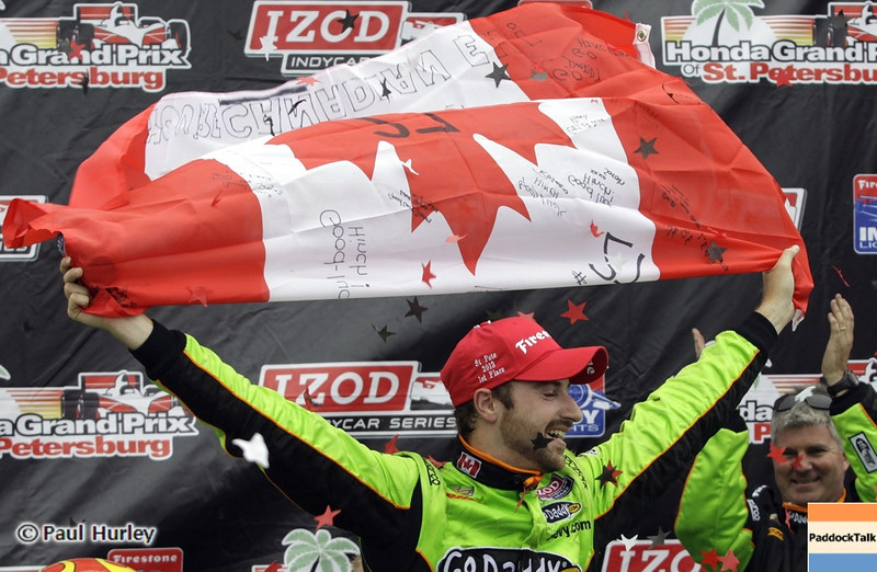 March 24: James Hinchcliffw winner during the Honda Grand Prix of St. Petersburg IndyCar race.