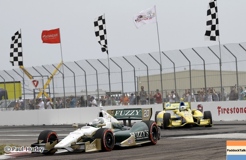 March 24: Ed Carpenter and Anna Beatriz during the Honda Grand Prix of St. Petersburg IndyCar race.