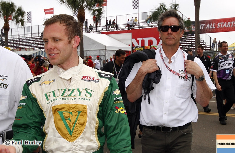 March 23: Ed Carpenter and Tony George during IndyCar qualifying at the Honda Grand Prix of St. Petersburg.