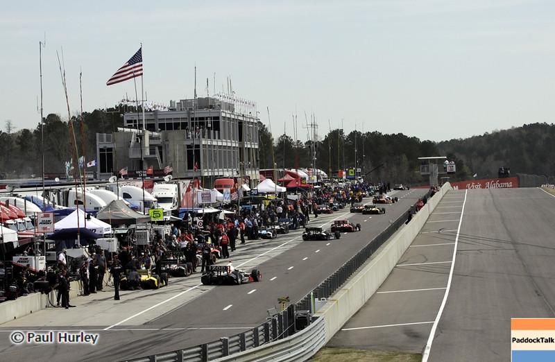 April 6: Pit lane during qualifying for the Honda Grand Prix of Alabama at Barber Motorsports Park.