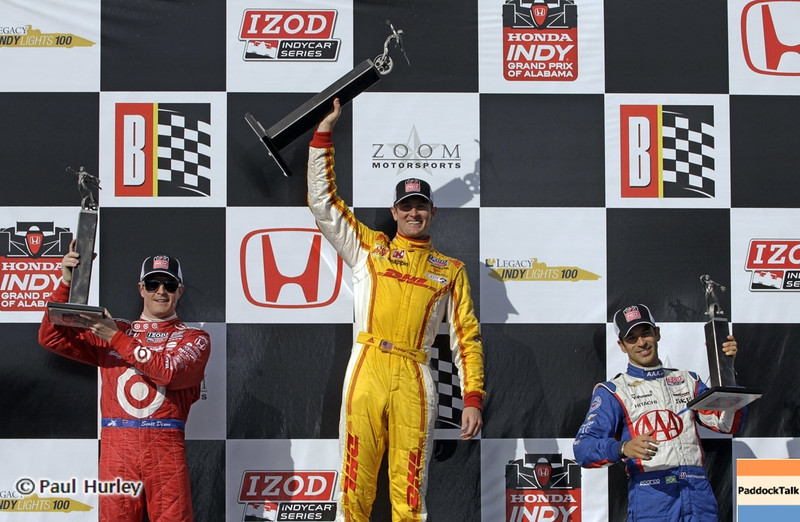 April 7: Scott Dixon, Ryan Hunter-Reay and Helio Castroneves on the podium after the Honda Grand Prix of Alabama IndyCar race at Barber Motorsports Park