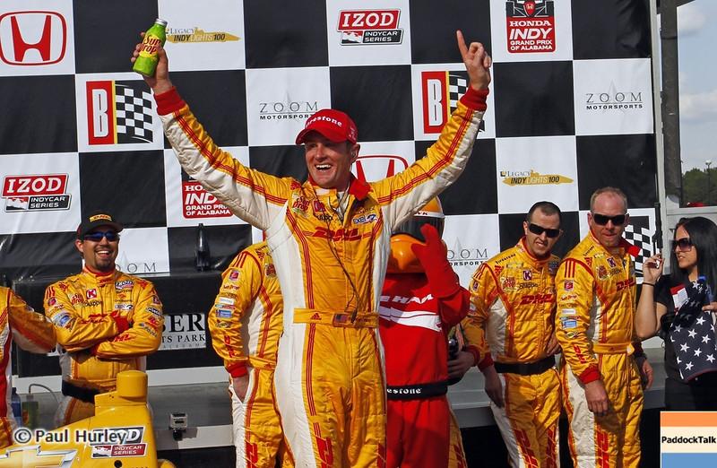 April 7: Ryan Hunter-Reay, the winner of the Honda Grand Prix of Alabama IndyCar race at Barber Motorsports Park