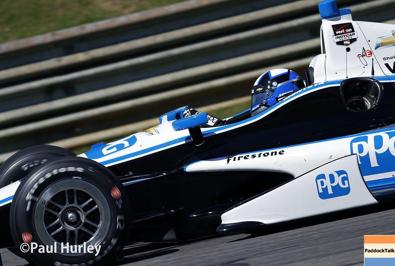 April 26: Juan Montoya during qualifying for the Honda Grand Prix of Alabama.