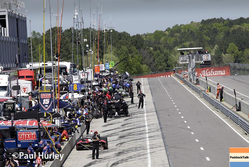 April 26: Pit laneduring qualifying for the Honda Grand Prix of Alabama.