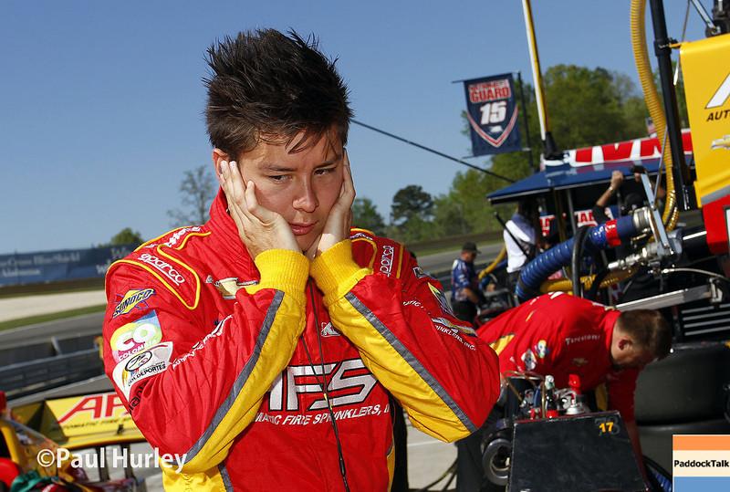 April 26: Sebastian Saavedra during qualifying for the Honda Grand Prix of Alabama.
