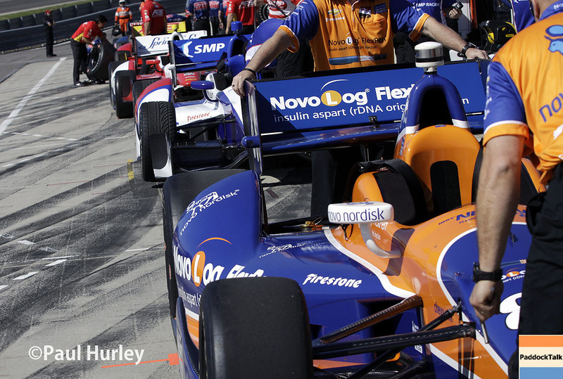 April 26: Pit lane during qualifying for the Honda Grand Prix of Alabama.