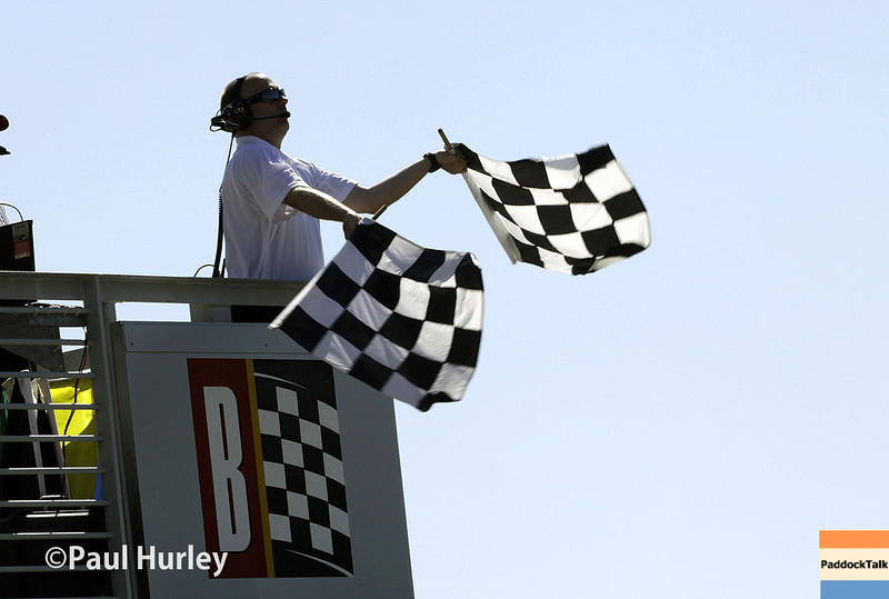 April 26: Checkered flag during qualifying for the Honda Grand Prix of Alabama.