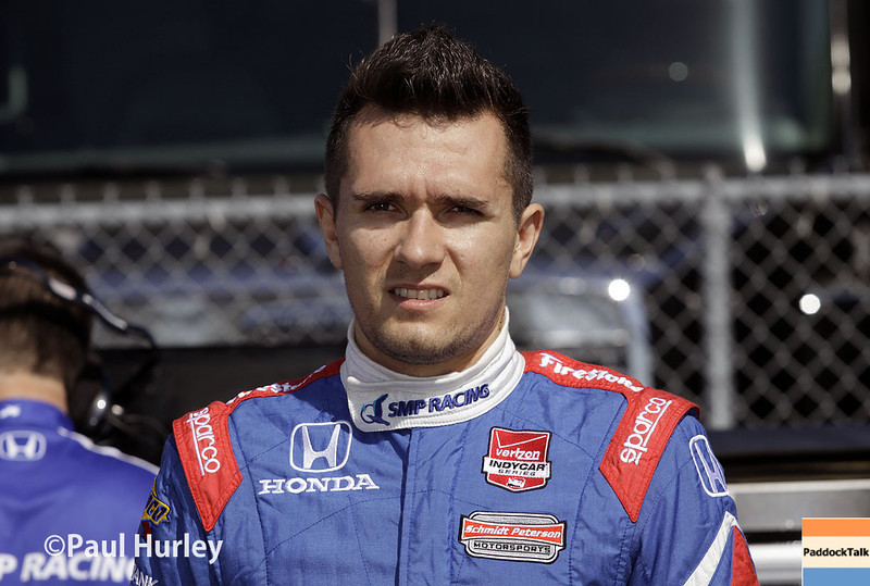 April 26: Mikhail Aleshin during qualifying for the Honda Grand Prix of Alabama.