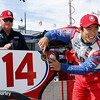 May 31: A.J. Foyt Jr. and Takuma Sato after winning the pole for Race 1 of the Chevrolet Detroit Belle Isle Grand Prix.