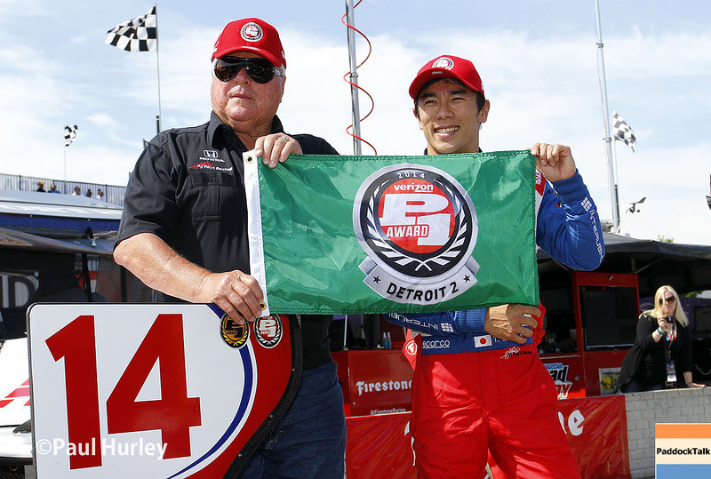 May 31: A.J. Foyt Jr. and Takuma Sato after winning the pole award for Race 1 of the Chevrolet Detroit Belle Isle Grand Prix.