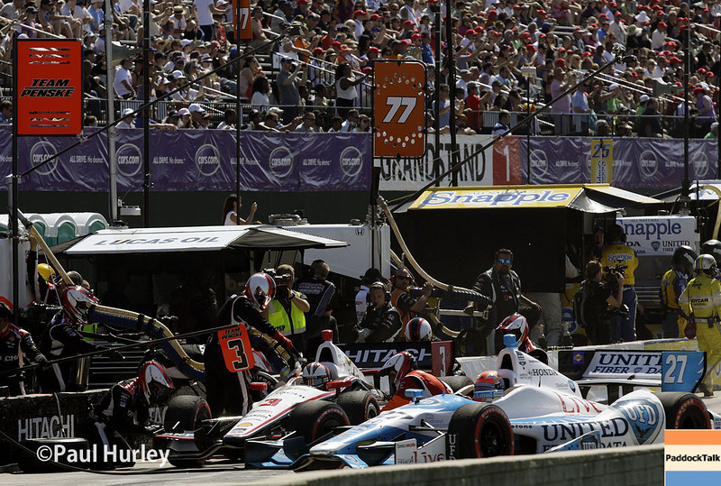 May 31: Pit action during Race 1 of the Chevrolet Detroit Belle Isle Grand Prix.