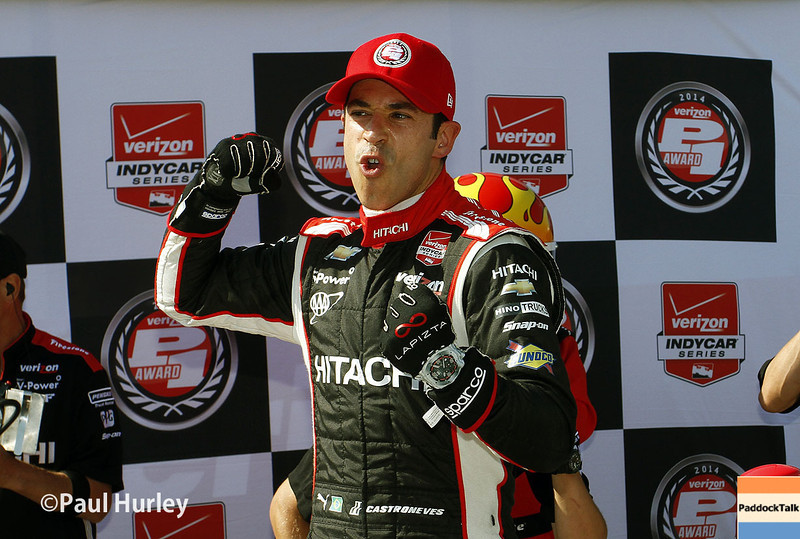 May 31: Helio Castroneves after qualifying for Race 1 of the Chevrolet Detroit Belle Isle Grand Prix.