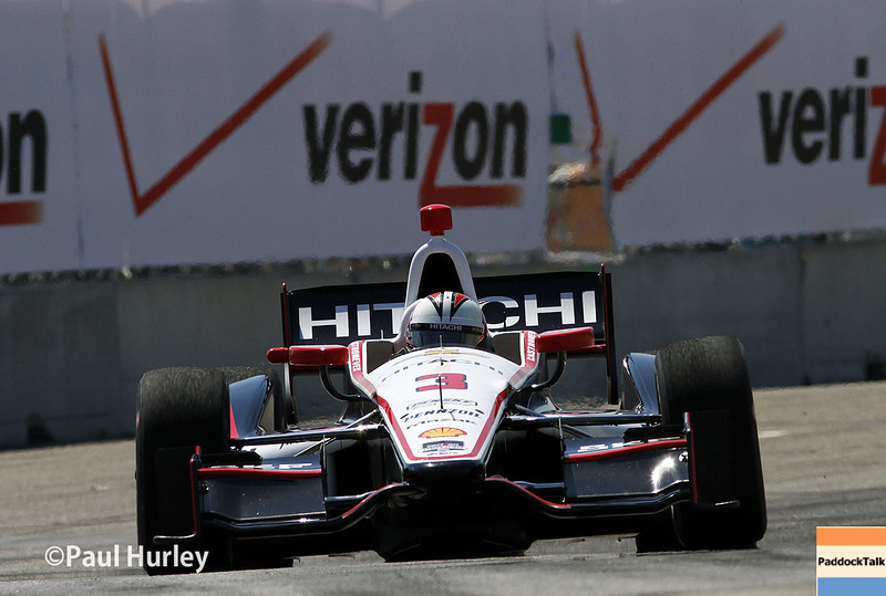 Team Penske IndyCar driver Helio Castroneves and his No. 3 Chevrolet touched the wall and took the Pole for the Chevrolet Indy Dual In Detroit with a lap of 109.110 mph.