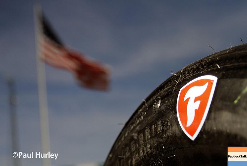 June 1: Firestone Firehawk tire during qualifying for Race 2 of the Chevrolet Detroit Belle Isle Grand Prix.