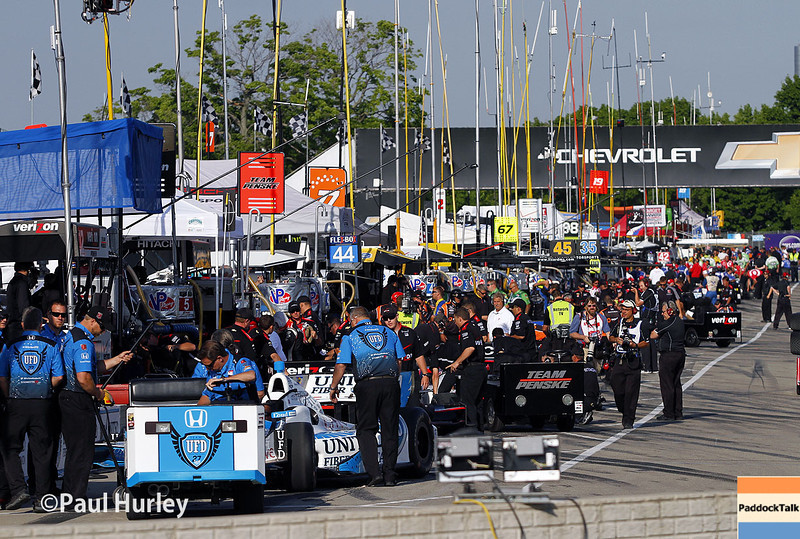 May 31: Pit action during qualifying for Race 1 of the Chevrolet Detroit Belle Isle Grand Prix.