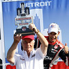 June 1: Roger Penske and Helio Castroneves after winning Race 2 of the Chevrolet Detroit Belle Isle Grand Prix.