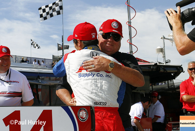 May 31: Takuma Sato and A.J. Foyt Jr. after qualifying for Race 1 of the Chevrolet Detroit Belle Isle Grand Prix.
