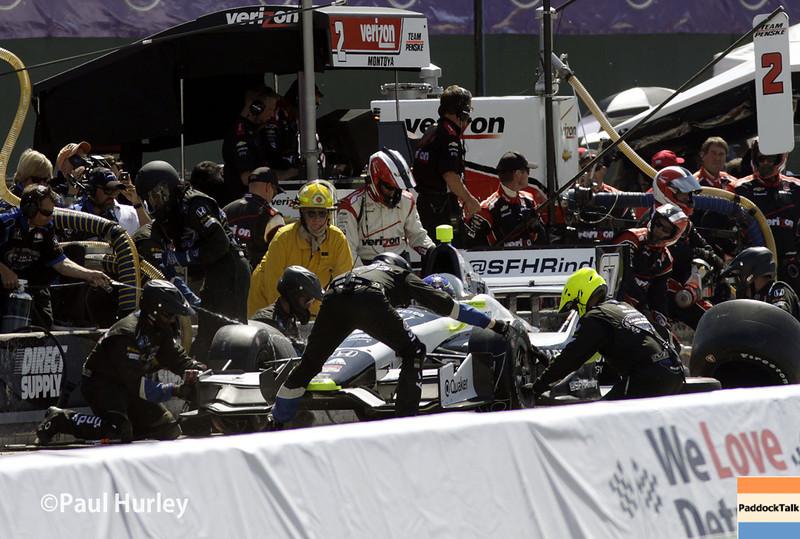 June 1: Josef Newgarden pit stop during Race 2 of the Chevrolet Detroit Belle Isle Grand Prix.