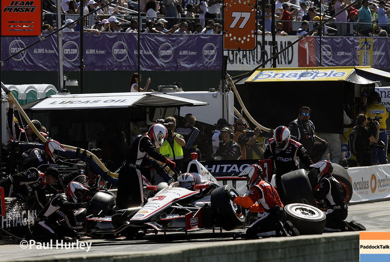 May 31: Helio Castroneves pit stop during Race 1 of the Chevrolet Detroit Belle Isle Grand Prix.