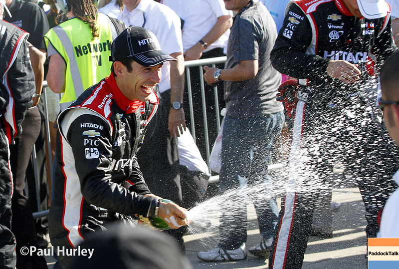 June 1: Helio Castroneves after Race 2 of the Chevrolet Detroit Belle Isle Grand Prix.