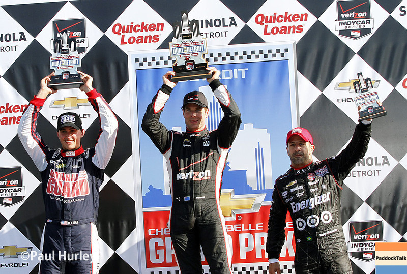 May 31: Graham Rahal, Will Power and Tony Kanaan after Race 1 of the Chevrolet Detroit Belle Isle Grand Prix.