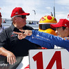 May 31: A.J. Foyt Jr. and Takuma Sato after qualifying for Race 1 of the Chevrolet Detroit Belle Isle Grand Prix.
