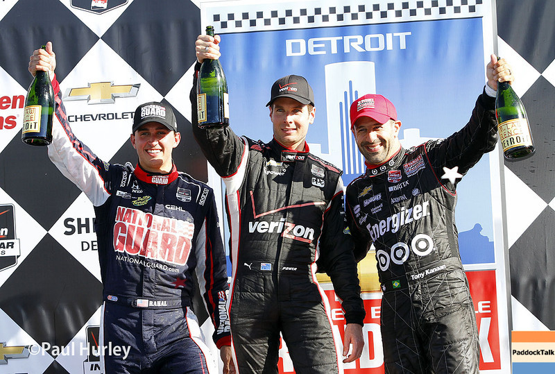 May 31: Graham Rahal, Will Power and Tony Tanaan after Race 1 of the Chevrolet Detroit Belle Isle Grand Prix.