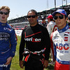 May 31: Josef Newgarden, Juan Montoya and Takuma Sato before Race 1 of the Chevrolet Detroit Belle Isle Grand Prix.