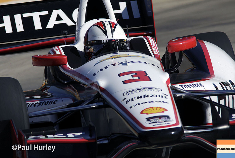 Helio Castroneves and his No. 3 Team Penske Chevrolet has won the Chevrolet Indy Dual In Detroit race two on the street circuit on Belle Isle.