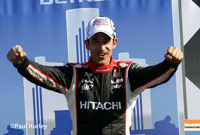 June 1: Helio Castroneves after winning Race 2 of the Chevrolet Detroit Belle Isle Grand Prix.