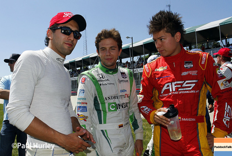 May 31: Carlos Huertas, Carlos Munoz and Sebastian Saavedra before Race 1 of the Chevrolet Detroit Belle Isle Grand Prix.