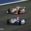 August 30:Helio Castroneves and Juan Montoya during the MAVTV 500 race at Auto Club Speedway.