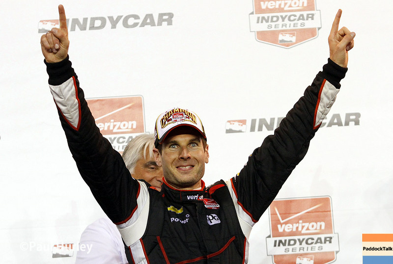 Will Power earned his first Verizon IndyCar Series championship with a ninth-place finish in the MAVTV 500 at Auto Club Speedway.