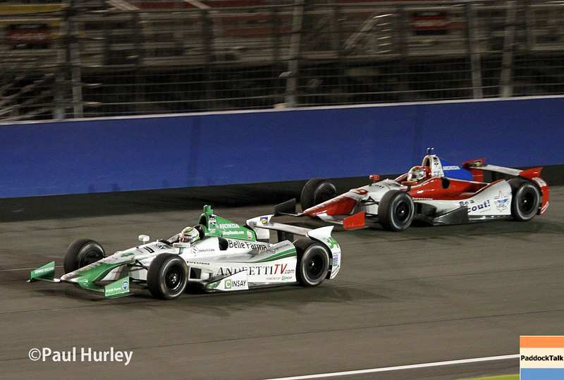 August 30:Carlos Munoz and Justin Wilson during the MAVTV 500 race at Auto Club Speedway.
