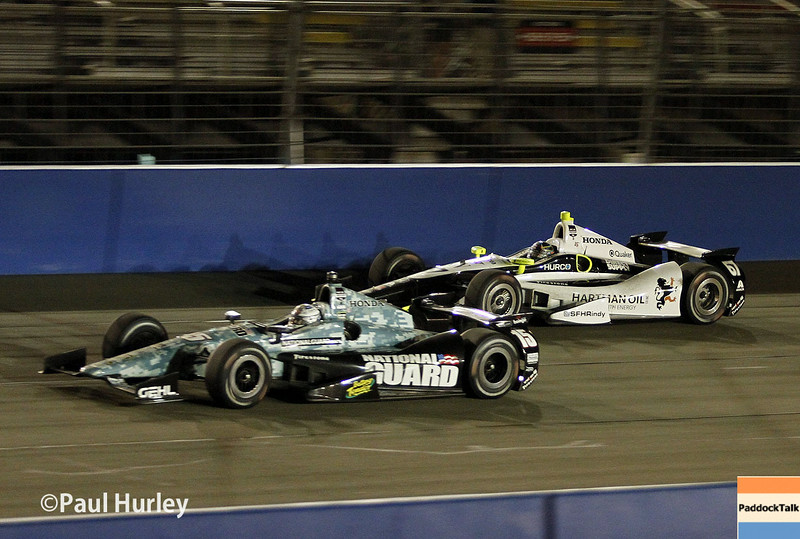 August 30:Graham Rahal and Josef Newgarden during the MAVTV 500 race at Auto Club Speedway.