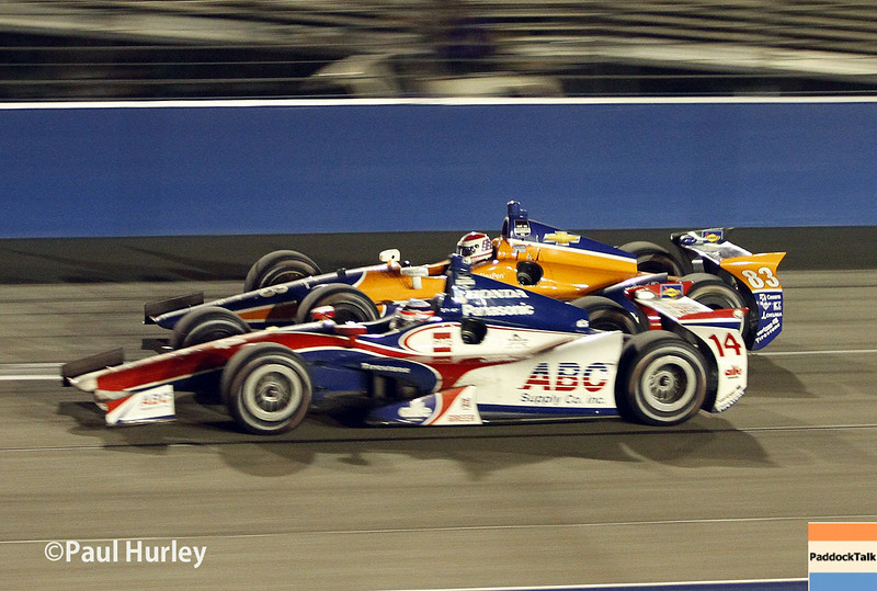 August 30: Takuma Sato and Charlie Kimball during the MAVTV 500 race at Auto Club Speedway.