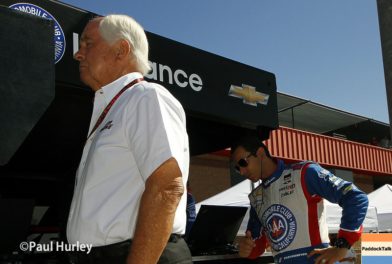 August 29: Roger Penske and Helio Castroneves during MAVTV 500 practice and qualifications at Auto Club Speedway.