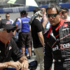 August 29: Rick Mears and Juan Montoya during MAVTV 500 practice and qualifications at Auto Club Speedway.