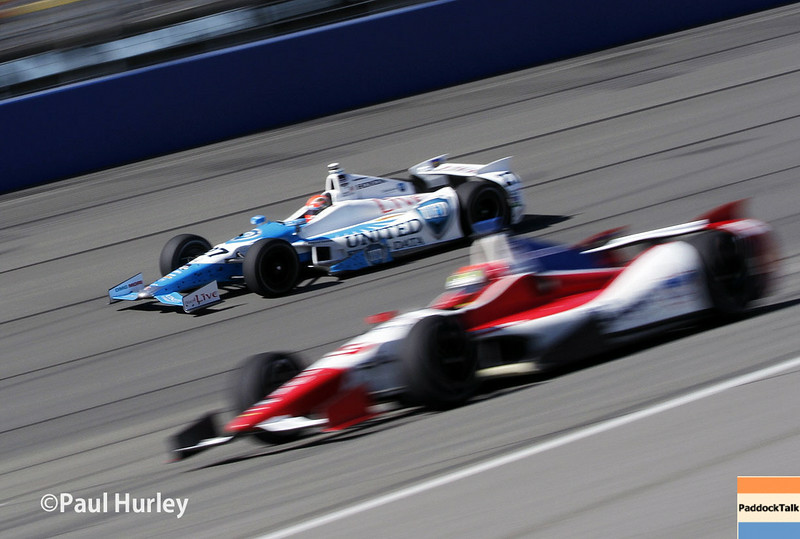 August 29: James Hinchcliffe and Justin Wilson during MAVTV 500 practice and qualifications at Auto Club Speedway.