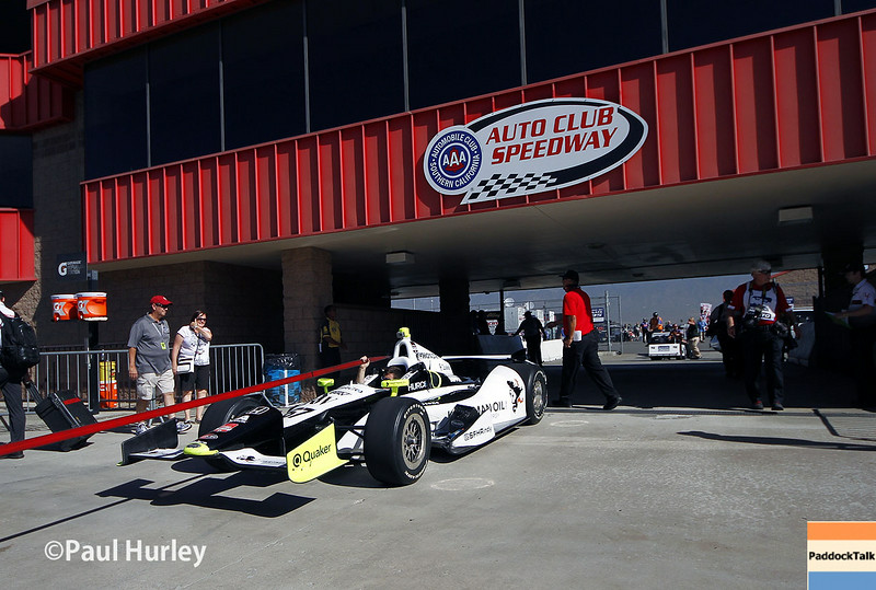 August 29: Josef Newgarden's car during MAVTV 500 practice and qualifications at Auto Club Speedway.