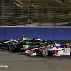 August 30:Takuma Sato and Sebastien Bourdais during the MAVTV 500 race at Auto Club Speedway.