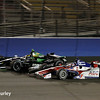 August 30:Takuma Sato and Sebastien Bourdais during the MAVTV 500 race at Auto Club Speedway.