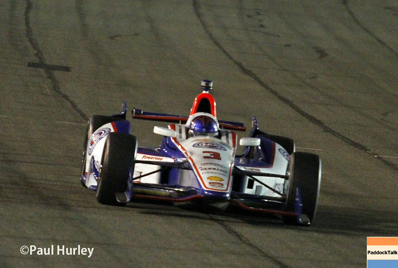 August 30:Helio Castroneves during the MAVTV 500 race at Auto Club Speedway.