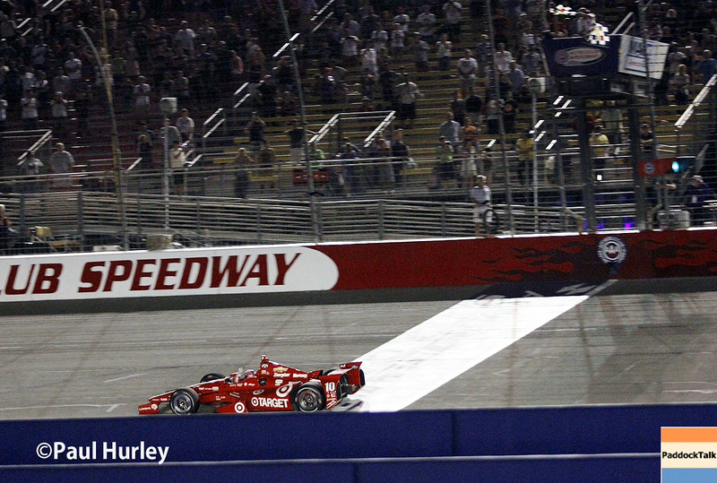 August 30:Tony Kanaan, race winner during the MAVTV 500 race at Auto Club Speedway.