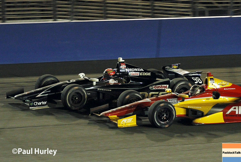August 30:Sebastian Saavedra and Jack Hawksworth during the MAVTV 500 race at Auto Club Speedway.