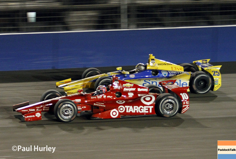 August 30:Tony Kanaan and Marco Andretti during the MAVTV 500 race at Auto Club Speedway.