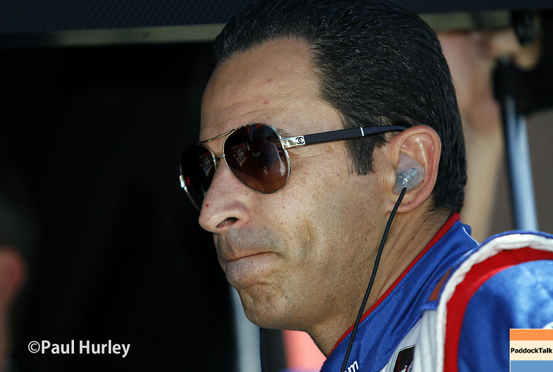 Helio Castroneves and his No. 3 Team Penske Chevrolet has taken the Pole for the Qualifying for the MAVTV 500 at the Auto Club Speedway in Fontana, California with a two-lap average of 218.540 mph.