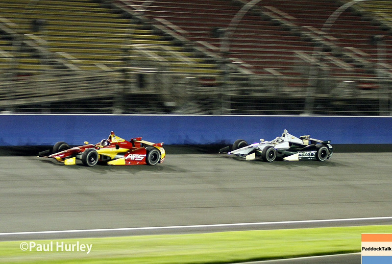 August 30:Sebstian Saavedra and Ed Carpenter during the MAVTV 500 race at Auto Club Speedway.