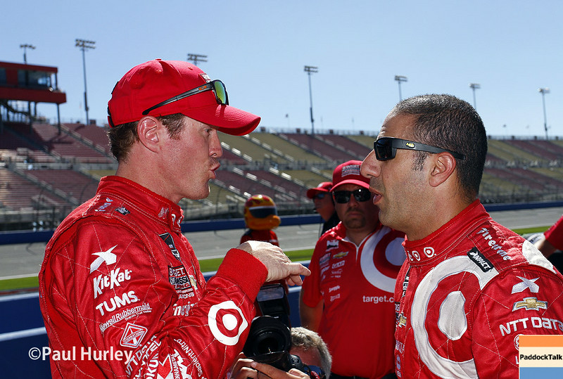 August 29: Scott Dixon and Tony Kanaan during MAVTV 500 practice and qualifications at Auto Club Speedway.