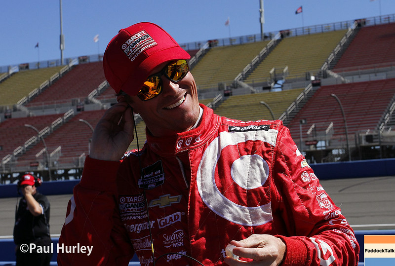August 29: Scott Dixon during MAVTV 500 practice and qualifications at Auto Club Speedway.